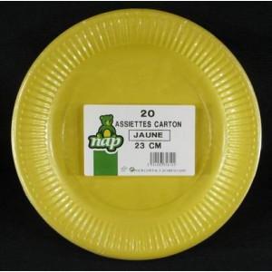 Assiettes en carton jaune